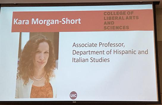 projected screen presenting Prof. Morgan-Short